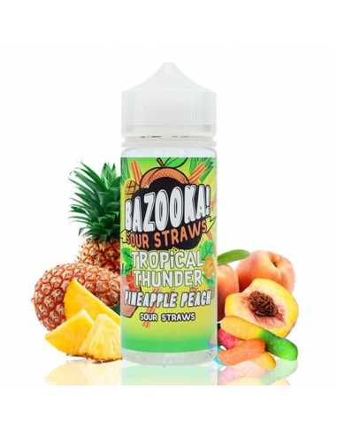Bazooka Sour Straws Tropical Thunder Pineapple Peach 100ml